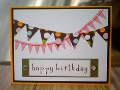 Stitched banner Happy Birthday card