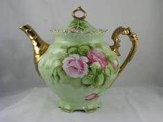"Lefton ""Green Heritage"" Tea Pot With Gold Handle and Spout"