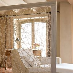 diy make modern room divider parition with timber wood frame and string - http://www.home-dzine.co.za/decor/decor-interior-partitions.htm