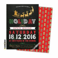 Christmas Invitation, Christmas Party Invitation, Holiday Open House Party, Holiday Party Invites, Festive Holiday, Reindeer Santa 80 by 800Canvas on Etsy