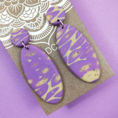 Wildclay Purple and Ecru Polymer Clay Stud Drop Earring Body Lotions, Polymer Clay Earrings, Cleaning Wipes, Perfume, Candles, Drop Earrings, Purple, Unique, Gifts