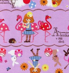 HALF YARD Kokka Fabric - Purple Alice in Wonderland November Books - Queen Hearts,  - Japanese