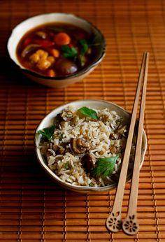 mushroom fried rice recipe, how to make mushroom fried rice recipe