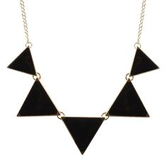 Amazon.com: Jane Stone Fashion Black Bib Necklace Triangle Statement Simple Necklace (Fn0568-Black): Sports & Outdoors