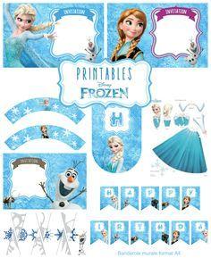 4 invitations, la police d'écriture 2 banderoles murales, 1 banderole de gâteau, flocons à découper, coloriages et des activités pour les enfants dans ce kit anniversaire la reine des neiges.