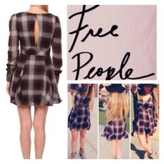 "Free People Plaid Open Back Dress.  NWT. Free People Plaid Open Back Dress, 65% cotton, 35% rayon, machine washable, 19"" armpit to armpit (38"" all around), 32"" waist, 18"" arm inseam, 33.5 length, fully lined, V neckline, long sleeves, four tarnished brass button cuff, ruffle hem, open back, concealed side zip closure, measurements are approx.  No PayPal....No Trades... Free People Dresses"