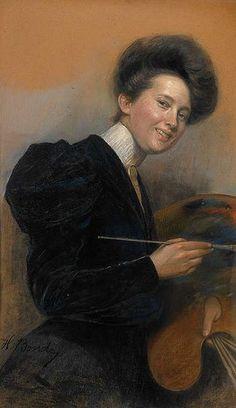 Alina Bondy Glassowa (Ukranian painter, 1865-1935. Self Portrait.