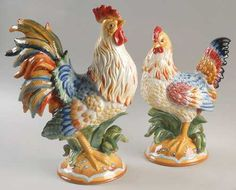 Fitz & Floyd Ceramic Roosters Mom lovedeoosters and so do I and my sister.