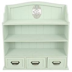 Distressed Wood Cabinet with Shelves and Drawers Green