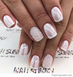 White nails with pearl effect | Inspiring Ladies