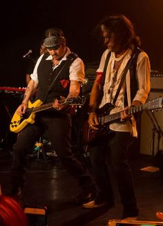 Johnny Depp took to the stage with his musical supergroup Hollywood Vampires, rocking out on his guitar at The Roxy Theatre in Los Angeles on Wednesday night, Sept Hollywood Vampires album is on sale now. Johnny Depp Fans, Here's Johnny, Perry Farrell, The Hollywood Vampires, Sensitive Men, Rock Anthems, Brian Johnson, Joe Perry, Guitar Collection