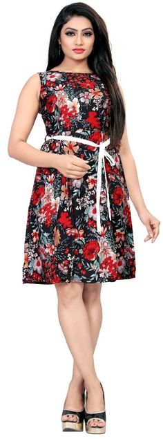 Multicolor American Crepe Floral Print Partywear Fit & Flair Skater Western Dress / frock for women or Girl Western Dresses For Women, Frock For Women, Designer Party Wear Dresses, One Piece Dress, Lovely Dresses, Short Dresses, Women's Dresses, Ethnic, Women's Fashion