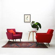 Pink Armchair with Beech Legs, 1950s