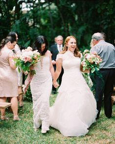 "This Couple's Miami Wedding Had an ""Old Florida"" Vibe Wedding Prep, Miami Wedding, Elegant Wedding, Budget Wedding, Two Brides, Lesbian Wedding, Wedding Photography Inspiration, Perfect Wedding Dress, Bridal Style"