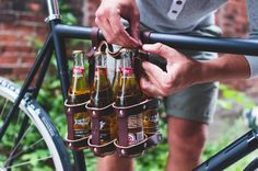 Fyxation Leather Bicycle Six Pack carrier. Great for carrying craft beer to the park or a night out. This is a great gift for any cyclist that appreciates quality craftsmanship and good beer.