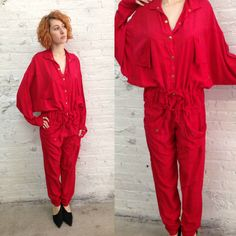 vintage 80s red drapey oversize minimalist jumpsuit  / slouchy comfortable style by dustyrosevintage on Etsy