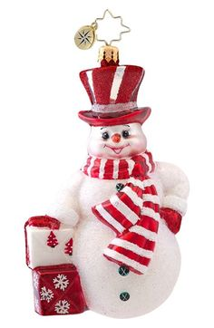 Christopher Radko 'Prince Frost' Handcrafted Glass Snowman Ornament available at #Nordstrom