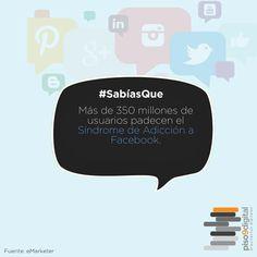 """#Piso9Digital #SabíasQue """"Más de 350 millones de usuarios padecen el Síndrome de adicción a Facebook."""""""
