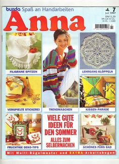 Anna, Filet Crochet, Knit Crochet, Crochet Magazine, Crochet Books, Magazines, Knitting, Blog, Cards