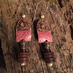 I was honored to have these earrings featured in Belle Armoire jewelry Magazine Hammered, textured and faux enameled copper component. Wooden beads enhanced with glass pearls. One of a kind earrings. Blusher, Wooden Beads, Swarovski Crystals, Artisan, Handmade Jewelry, Buy And Sell, Drop Earrings, Pearls, Bracelets