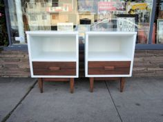 Pair of Mid Century Modern Nightstands in White and Walnut Los Angeles by HouseCandyLA, $450.00