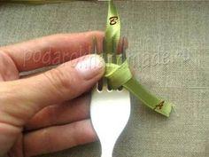 Creative Ideas - DIY Satin Ribbon Bow with a Fork 3