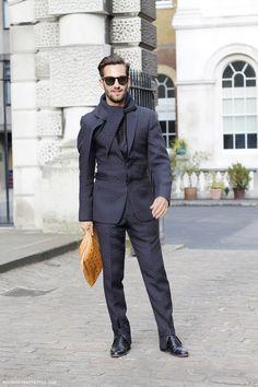 Matthew Zorpas in a black textured suit