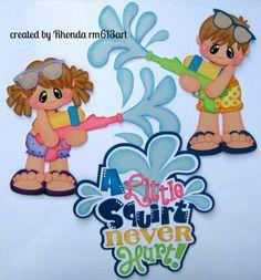 Summer Play boy girl paper piecing set premade scrapbook page Rhonda rm613art