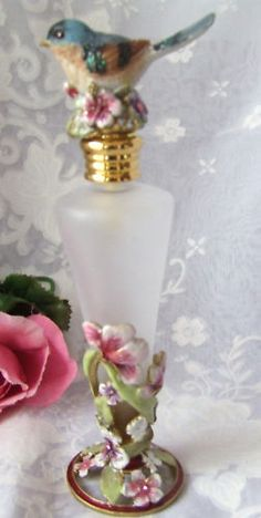 ELEGANT CRYSTAL FLORAL BIRD PERFUME BOTTLE-J21136PB-PB