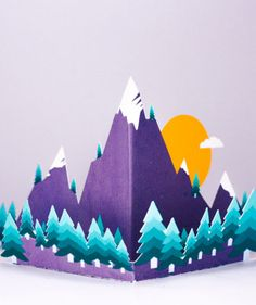Pop up mountain card --- Mountain illustration 3d Cards, Pop Up Cards, Mountain Illustration, Recycled Materials, Birthday Cards, Diy And Crafts, Christmas Cards, Mixed Media, Recycling