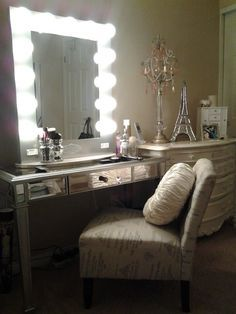 Vanity from Hollywood to Paris |  We love how Pinup Girl Bianca used a pier one table and her homage to the Eiffel Tower in her vanity room ..$399