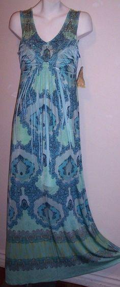 f67617f33be Oneworld Dress M New Rhinestone Stretch Knit Boho Hippy Maxi Sundress Womens  NWT  Oneworld