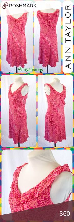 """ANN TAYLOR Spotted Coral Cascading Ruffle Dress 4 Gorgeous silk gown from Ann Taylor with a pink and coral snakeskin print overlay! Sleeveless with ruffle trim along the neckline and cascading down the front. Dark pink inner lining. Popover styling. Size 4 or Small. Measures 19"""" across the chest and 40"""" in length. Very pretty!  💐New Poshers Welcome💐 Reasonable Offers Accepted💐 Ann Taylor Dresses Midi"""