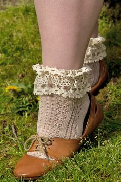 Pointelle Anklet with Crochet Lace - we love the subtle contrast of the oatmeal colored sock with ivory lace! Also available in black.