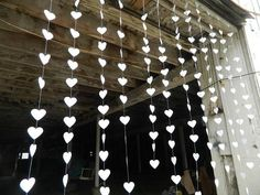 Items similar to Wedding heart garland / DIY Wedding Curtain / Curtain Backdrop / Wedding Reception Decor / bridal shower decor / your color choices on Etsy Curtain Backdrop Wedding, Diy Wedding Garland, Streamer Backdrop, Diy Garland, Ceremony Backdrop, Garland Ideas, Photo Garland, Garland Decoration, Paper Decorations