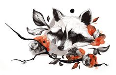 Raccoon Tattoo Design - Medium : Inks Personal work for my tattooist book - The design is not free, please do not use without permission. Deviantart Furaffinity Society6 Redbubble