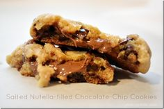 salted nutella filled chocolate chip cookies by Katie's Kitchen via NellieBellie