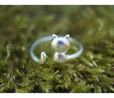 OWLZ zierlicher Katzen Ring, 925 Sterling-Silber