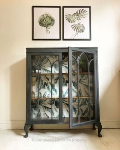 Glass cabinet painted in graphite by Annie Sloan with a botanical leaf print on the back. Available to buy Glass cabinet painted in graphite by Annie Sloan with a botanical leaf print on the back. Available to buy Refurbished Furniture, Paint Furniture, Repurposed Furniture, Furniture Projects, Furniture Makeover, Vintage Furniture, Home Furniture, Furniture Design, Furniture Online