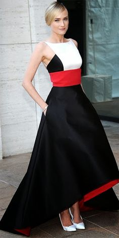 Actress Diane Kruger looks stunning in a color block gown by Prabal Gurung.