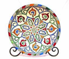 set of 2 , Moroccan ceramic, Moroccan Hand painted plate Metal deco Orient handicraft Morocco, Ø 30 cm Moroccan Plates, Moroccan Lamp, Moroccan Design, Moroccan Pendant Light, Brass Pendant Light, Ceramic Plates, Ceramic Pottery, Hand Painted Plates, White Clay