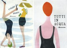 illustrator Lora Lamm made these posters in the late 1950′s for La Rinascente, an Italian department store