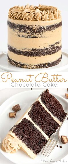 This Peanut Butter Chocolate Cake is pure decadence! Rich chocolate cake layers infused with peanut butter and a silky peanut butter frosting. Easy Cake Recipes, Sweet Recipes, Dessert Recipes, Food Cakes, Cupcake Cakes, Comida Diy, Peanut Butter Icing, Best Butter Cake Recipe, Decadent Cakes