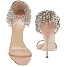 Giuseppe Zanotti Women's Mistico Crystal Ankle Sandals ($1,295) ❤ liked on Polyvore featuring shoes, sandals, nude high heel sandals, high heeled footwear, ankle strap sandals, open toe stilettos and high heels sandals