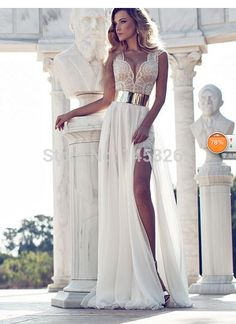 Julie-Vino-2015-Three-Styles-Evening-Dresses-Bateau-V-Neck-Cap-Sleeve-Chiffon-Beaded-Summer-Beach.jpg (533×733)