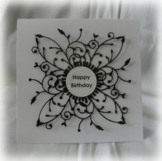Birthday card using memory box die [I've never heard of this process - I must check it out, it's gorgeous! ;) Mo]