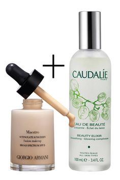 """COMPLEXION PERFECTION """"For light, airbrush-effect coverage,"""" makeup artist Romy Soleimani covers any """"trouble areas"""" on the face with Giorgio Armani Beauty Maestro Foundation, then immediately dampens skin with a spritz of Caudalie Beauty Elixir, using her fingers to blend the two together."""