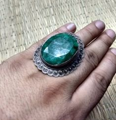 Engagement Rings – Emerald Ring, 925 Silver Ring, Wide Antique Ring – a unique product by Midas-Jewelry on DaWanda