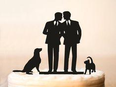 Gay mariage topper gâteau avec chat + chien, silhouette gay pour les hommes…
