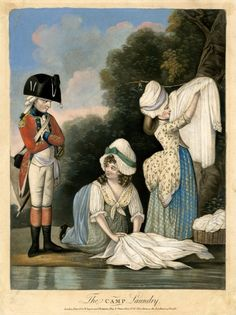 Two women washing clothes in a stream, one hanging a shirt on a tree branch to right, the other kneeling and rubbing a shirt, watched by a military officer who stands with folded arms on the left.  1782  Hand-coloured mezzotint